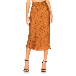 J.O.A. Animal print midi skirt bronze dot